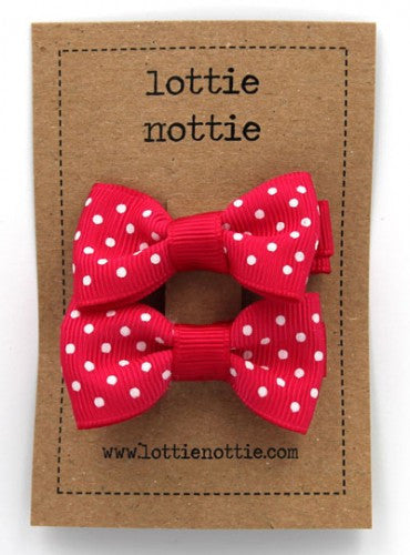 Lottie Nottie Hot Pink Swiss Dot Bows hair Clips