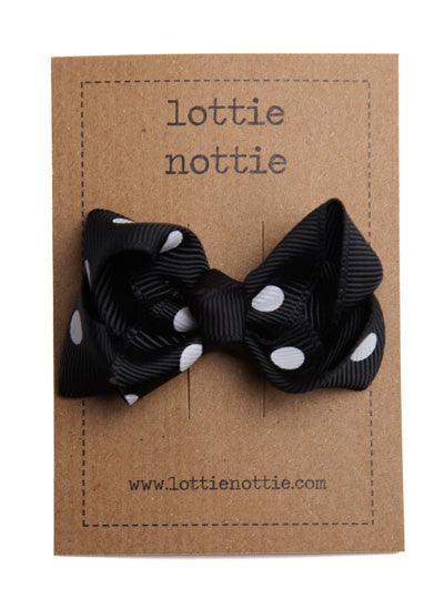 Lottie Nottie Twisted Bow Hair Clip, Black Polka Dot