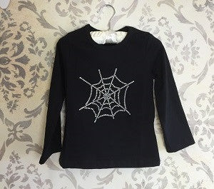 Girls Diamante T Shirt Spiders Web