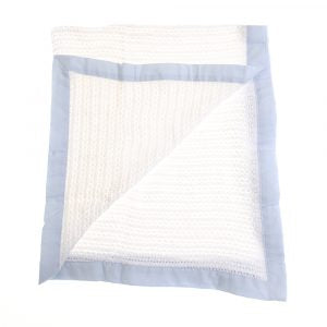 Baby Cellular Blanket Blue Trim