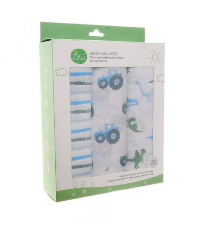 Ziggle Muslin Squares 3 Pack Blues