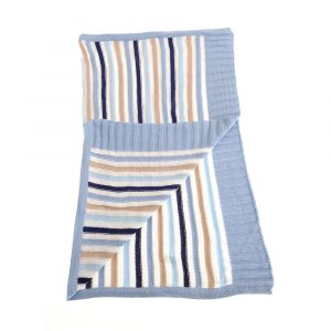 Baby Blanket Blue and Beige Stripes