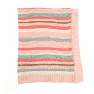 Baby Blanket Pink and Grey Stripes