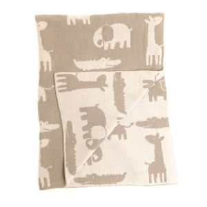 Baby Blanket Grey and White Animals
