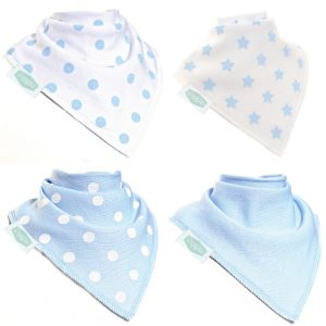 Bandana Dribble Bibs 4 Pack Blues and Whites