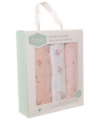 Ziggle Muslin Squares 3 Pack Rose Gold