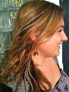 Feather hair extensions long hair