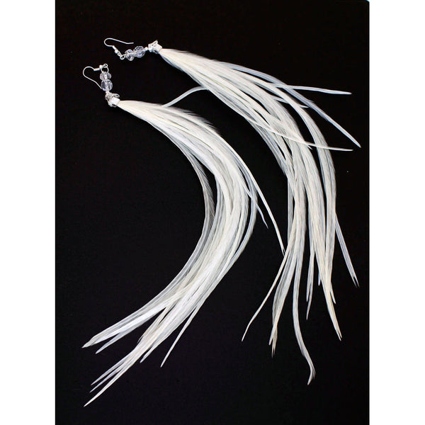 Long Feather Earrings (33 cm) #001
