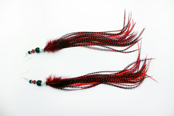 Long Feather Earrings (27 cm) #035