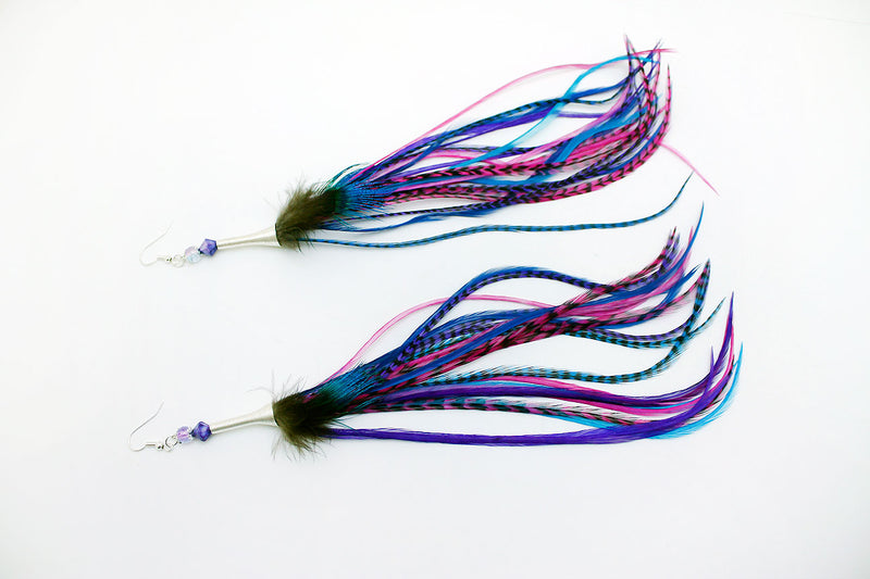 Long Feather Earrings (25 cm) #042