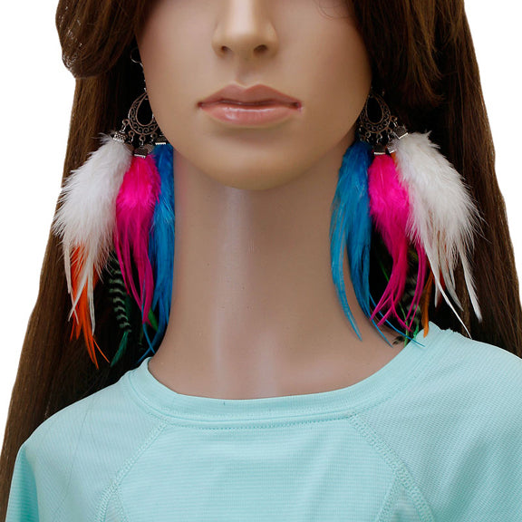 Long Feather Earrings (18 cm) #039