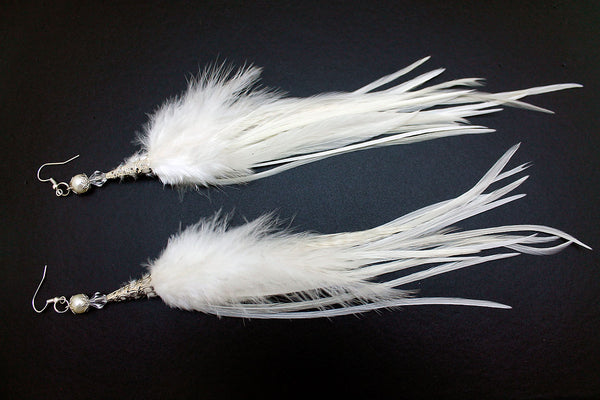 Long Feather Earrings (25 cm) #044