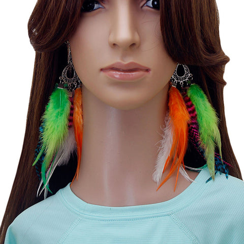Long Feather Earrings (18 cm) #051