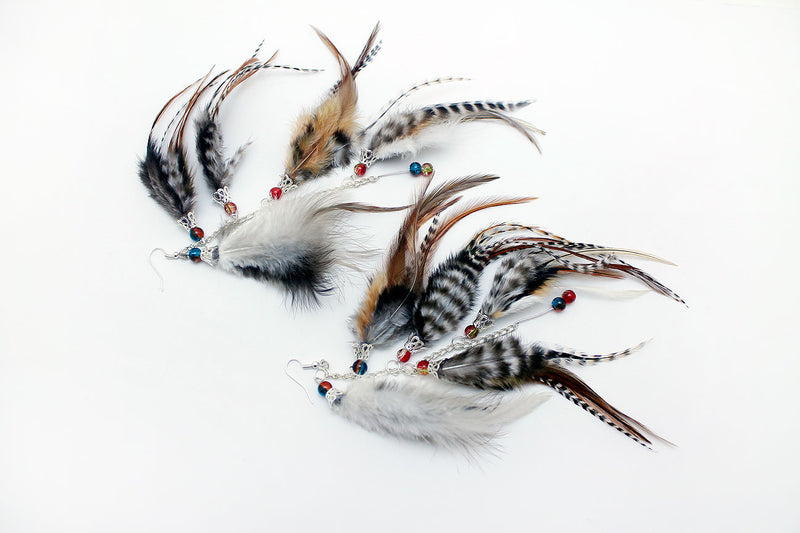 Long Feather Earrings (20 cm) #057