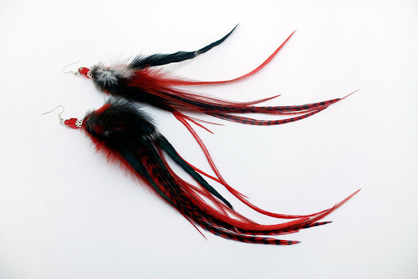 Long Feather Earrings (28 cm) #059