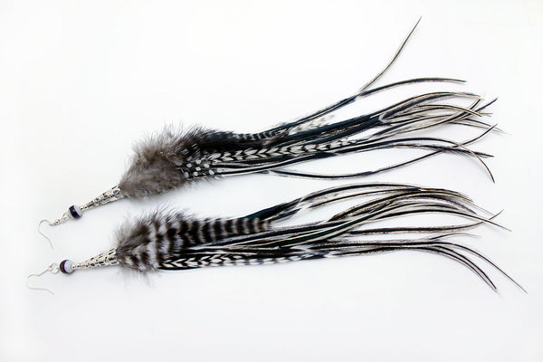 Long Feather Earrings (30 cm) #068
