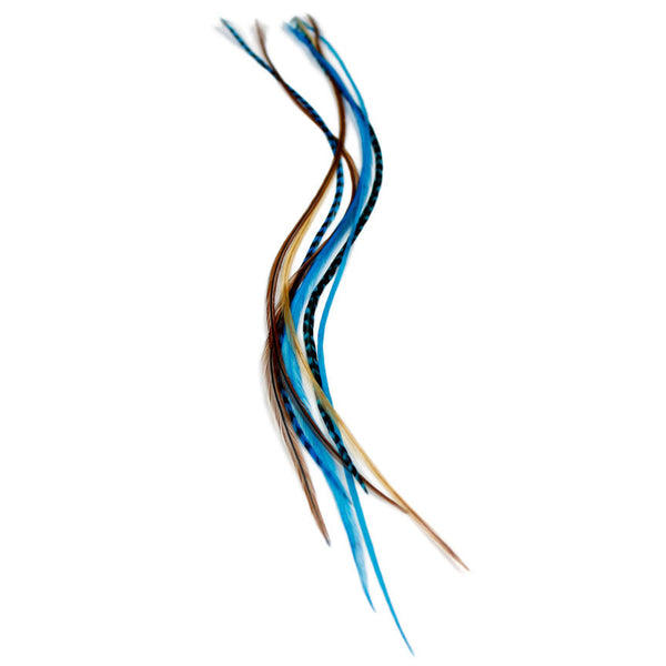 7 Long 11 -13 inch (28 - 33cm) Feather Hair Extensions - Blue Naturals
