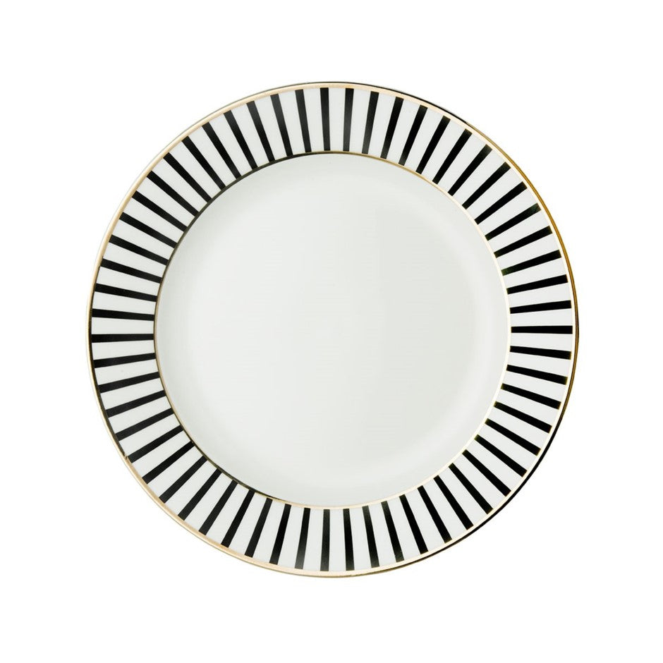 Dutch Rose Salad Plate - black stripe w/ gold rim