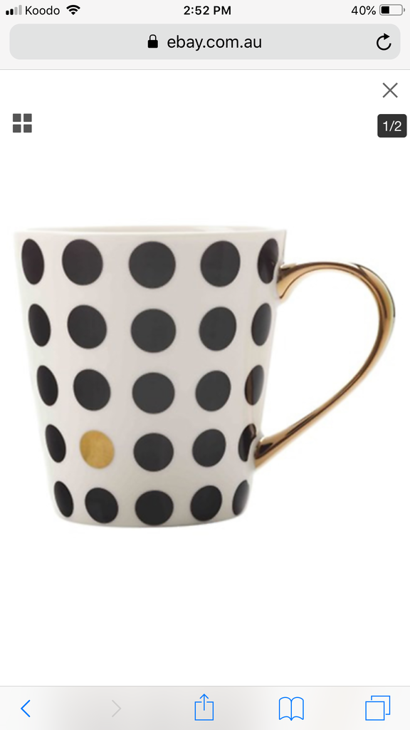 Tea Mug Aurora Spot - Black with Gold Trim