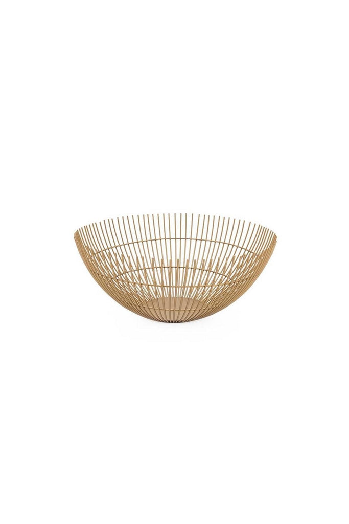 "Rib Metal Wire Bowl 11"" - Gold"
