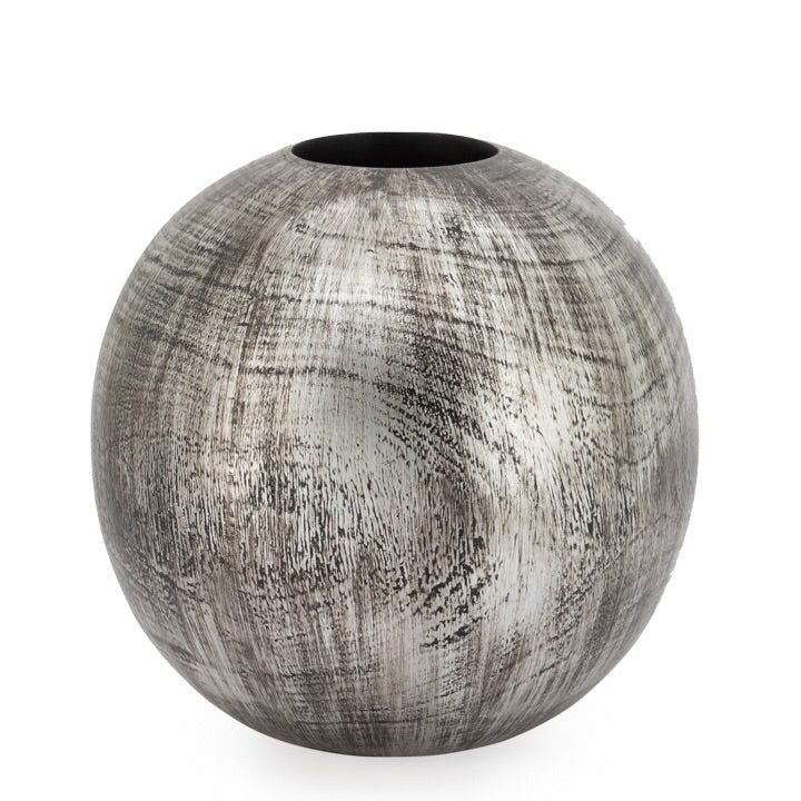 Woodgrain and Silver Patina Resin Vase - 10""