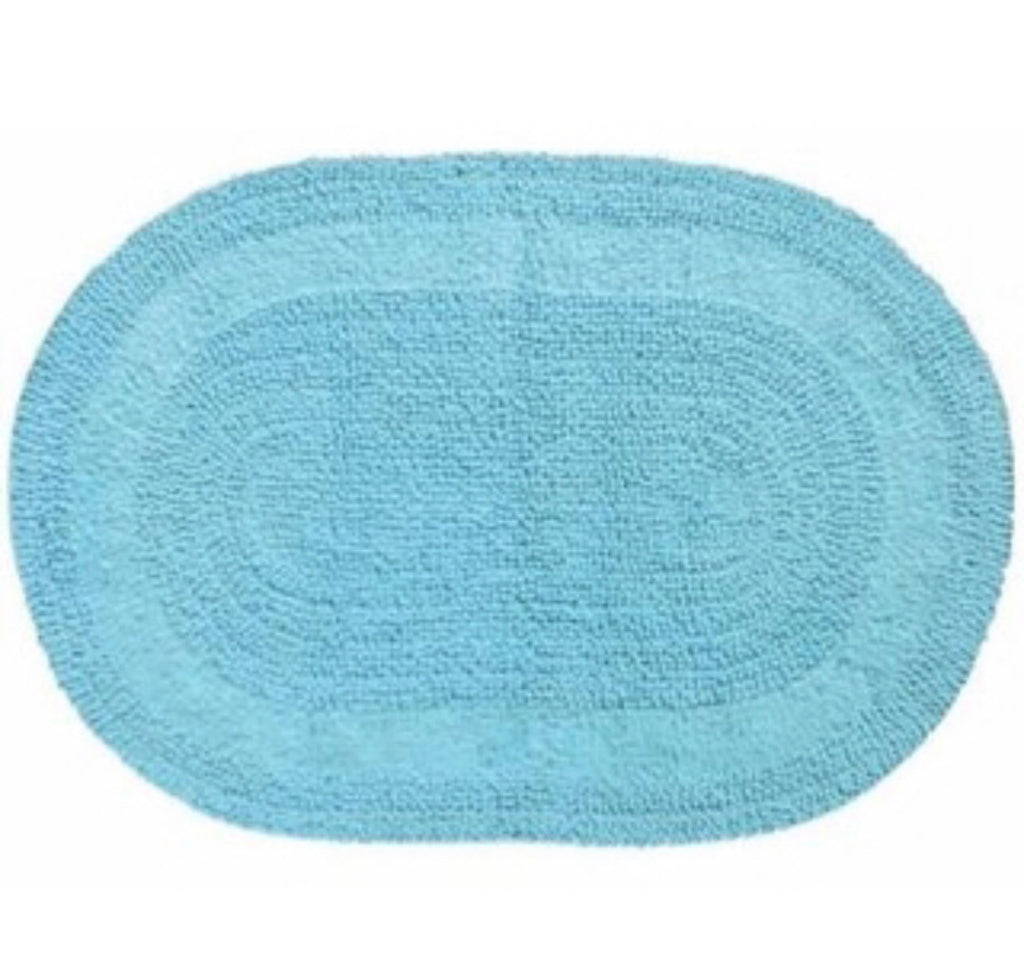 Serene Oval Bath Mat Blue