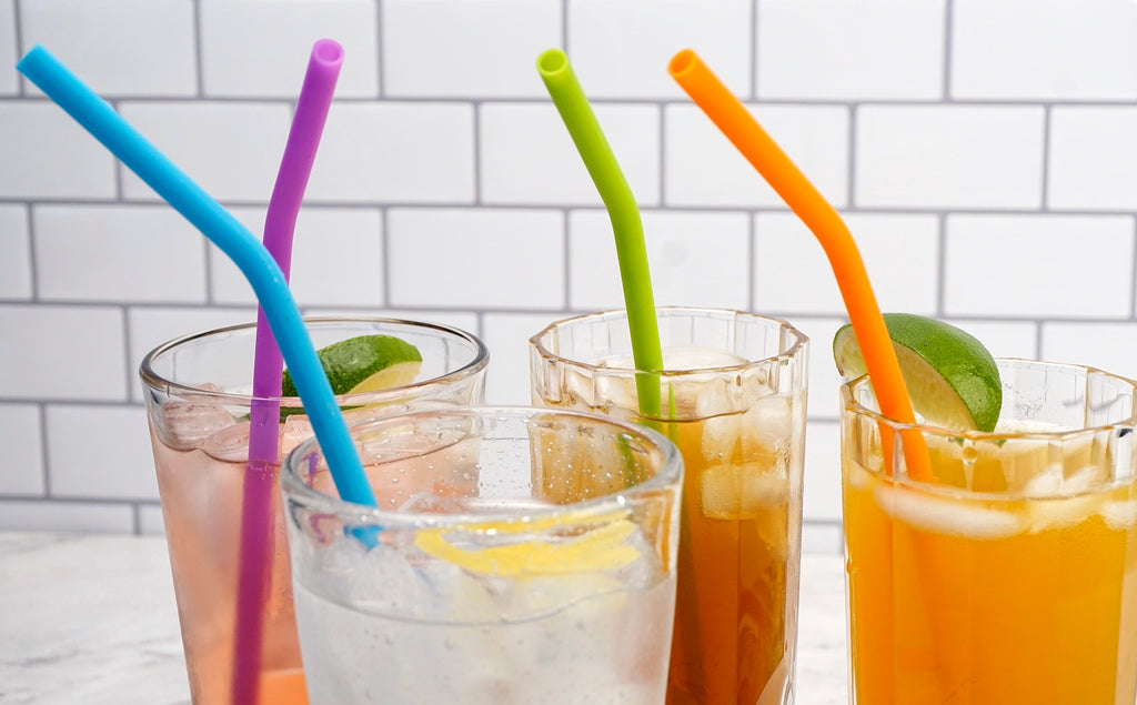 Silicone Drink Straw Set/6 with brush