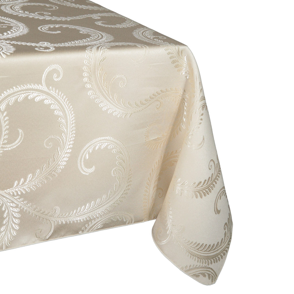 "Laurel Brocade 70x108"" Oblong - Porcelain"