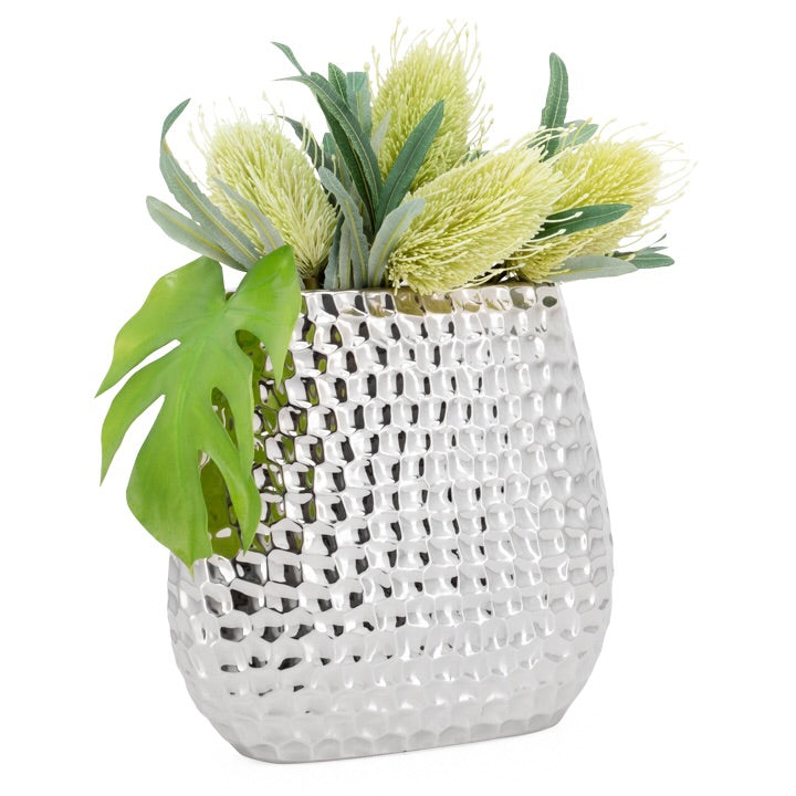 Bold Hammered Ceramic Vase - 12""
