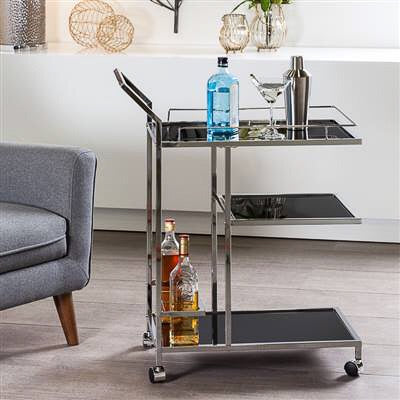 Lenox Chrome 3 Tier Bar Cart
