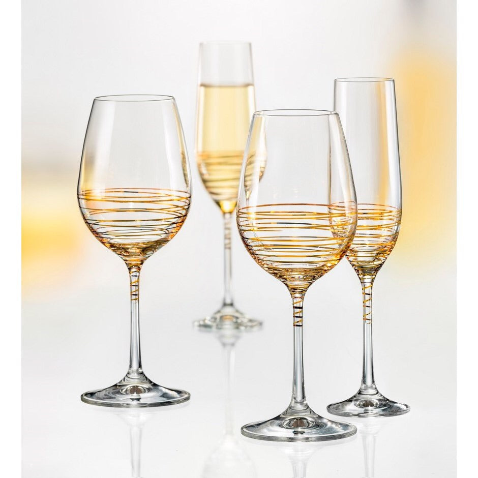 Spiral Gold Wine Glass (2 x 350 ml)