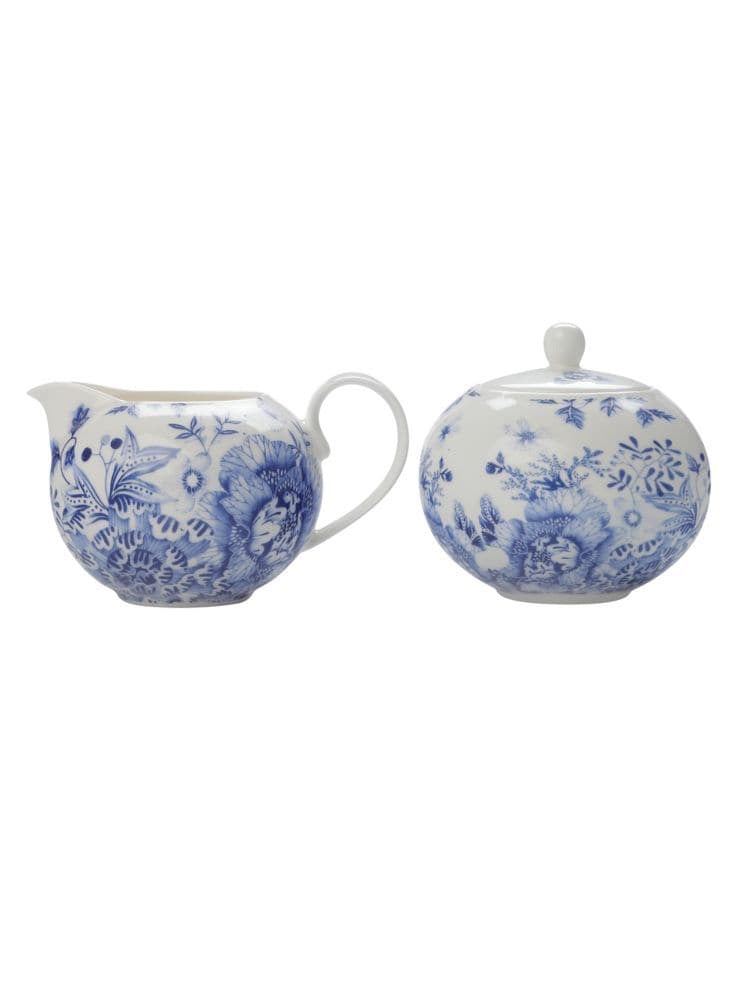 Cream and Sugar Set Toile de Fleur