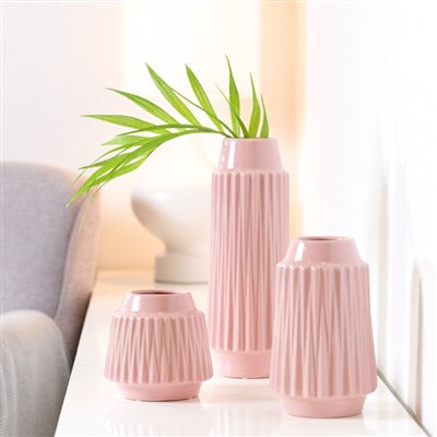 Ella Faceted ceramic 6 inch high vase - pink