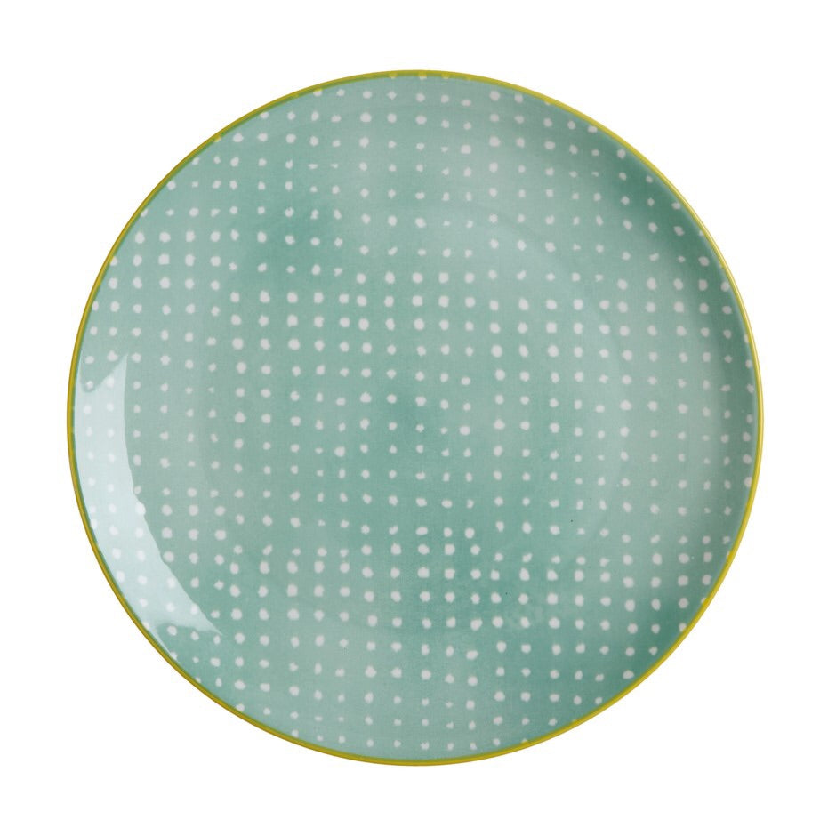 Laguna Plate 27 cm Green with White Polka Dots