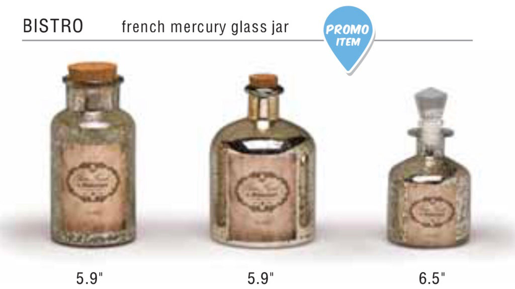 Bistro French Mercury Glass Jar 5.9 in Cork Stopper
