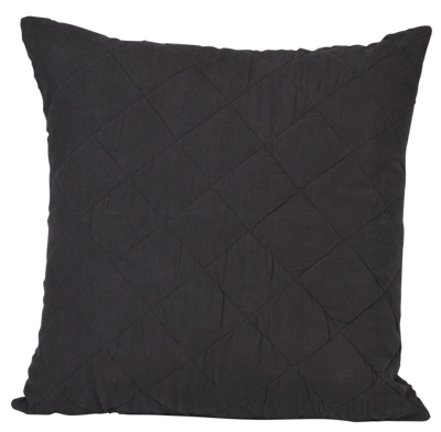 Diamond Quilted Cushion Cover- Black Caviar