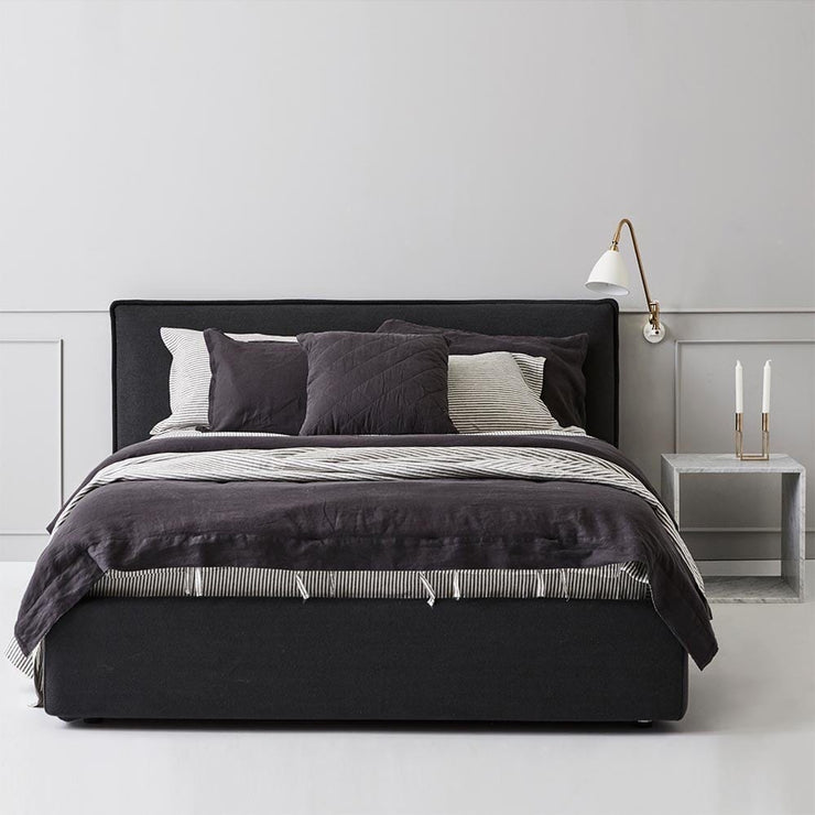Everything Bed Linen Set- Monochrome Stripes/Black Caviar - Paradoxe Linen