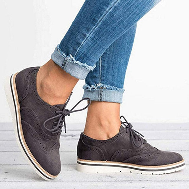 Women Oxfords Cut-Outs Lace Up