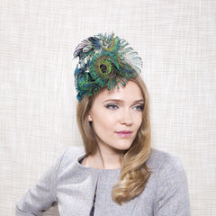 Gina Foster Millinery - Azurite - Peacock Feather Fascinator