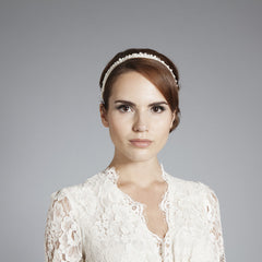 Gina Foster Millinery - Adele - Beaded Satin Bridal Hairband