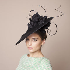 Gina Foster Millinery - Anzio - Large Hat with Poppies & Feathers