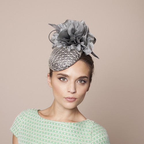 Gina Foster Millinery - Calvo - Small Grey Waffle Cocktail Hat