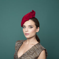 Chamonix - Felt Cocktail Hat with Flower Trim