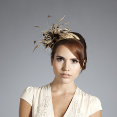 Gina Foster Millinery - Elsa - Beaded Feather Fascinator