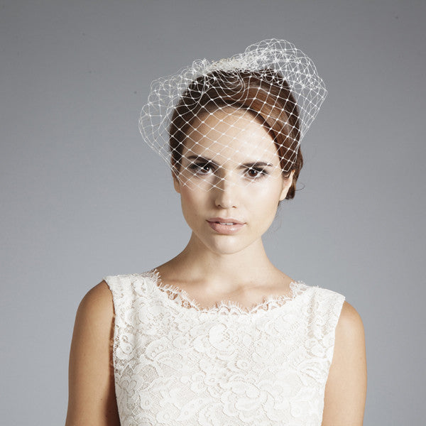 Gina Foster Millinery - Erin - Bridal Birdcage Veil Hair Comb