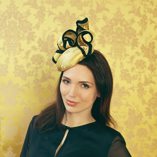 Gina Foster Millinery - Gainsborough - Medium Cocktail Hat with Grosgrain Pleat