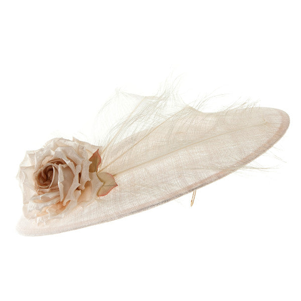 Hyacinth - Large Coulis Hat with Feather and Rose