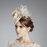 Gina Foster Millinery - Isla - Small Feather & Rose Cocktail Hat