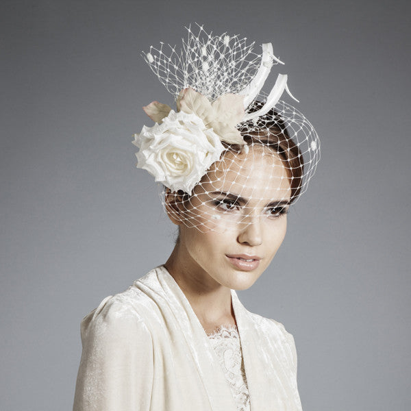 Gina Foster Millinery - Jessica - Spotted Birdcage Veil Fascinator