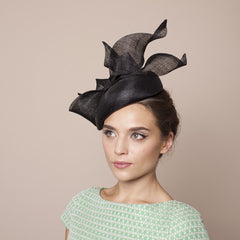 Gina Foster Millinery - Lucca - Black Beret Hat with Bow Trim